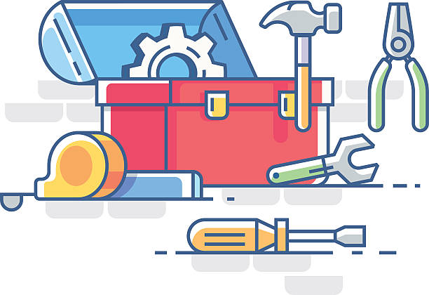 Open box with tools vector art illustration