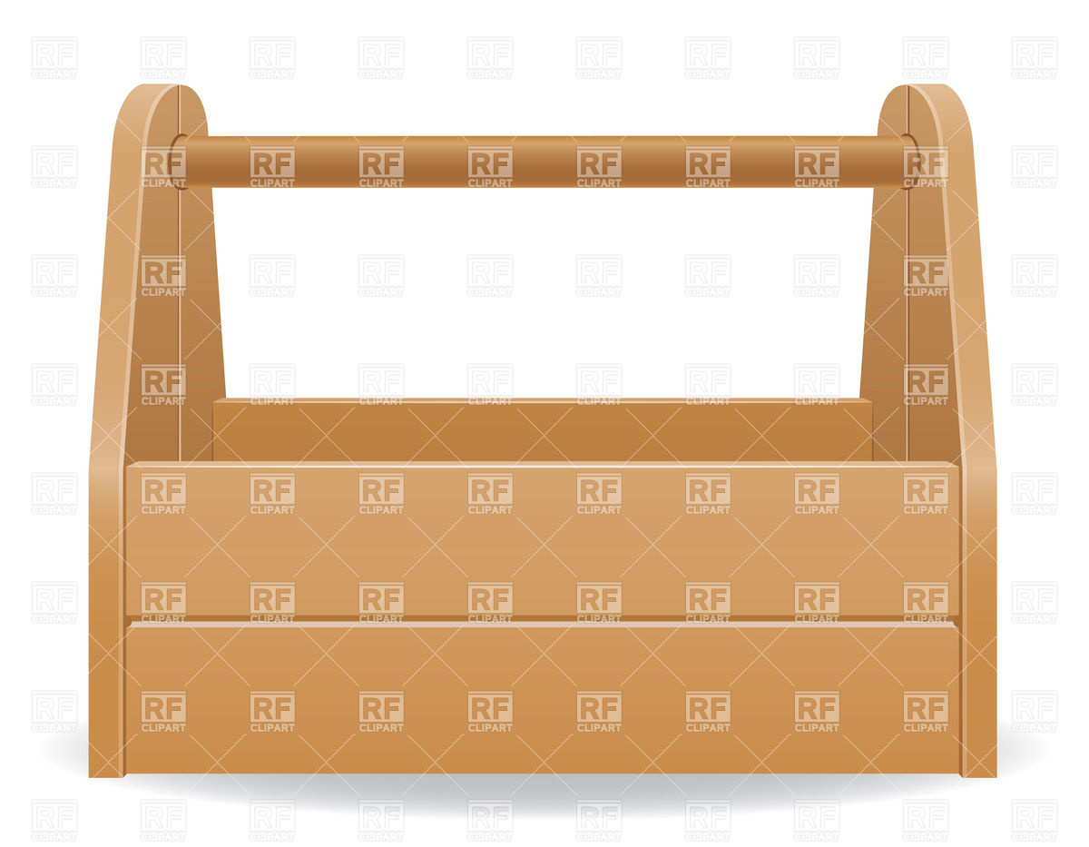 Wooden tool box Royalty Free Vector Clip Art