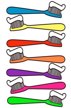Toothbrush clip art. This file contains 7 toothbrushes in color. All images have been