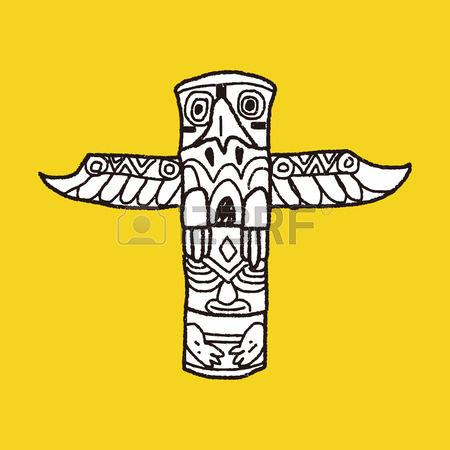 totem pole: Totem Pole doodle Illustration