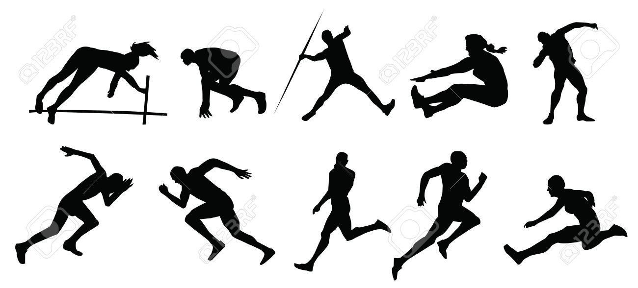 Track and field silhouette clipart