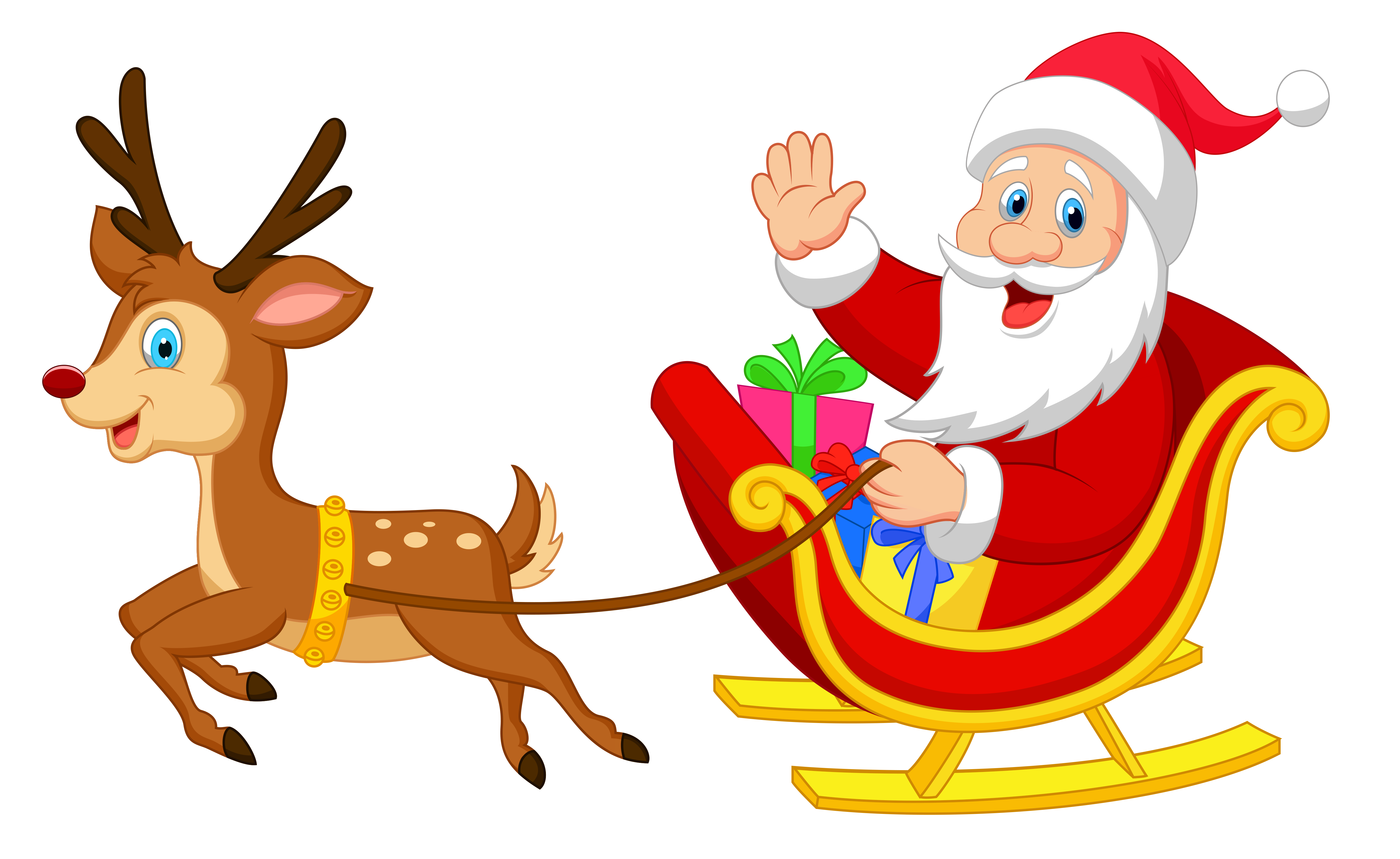 Transparent Santa with Rudolph PNG Clipart