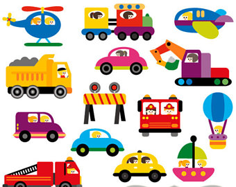 Transportation clipart sale / Transportation and driver digital clip art /  commercial use clipart / cras, trucks, vehicle