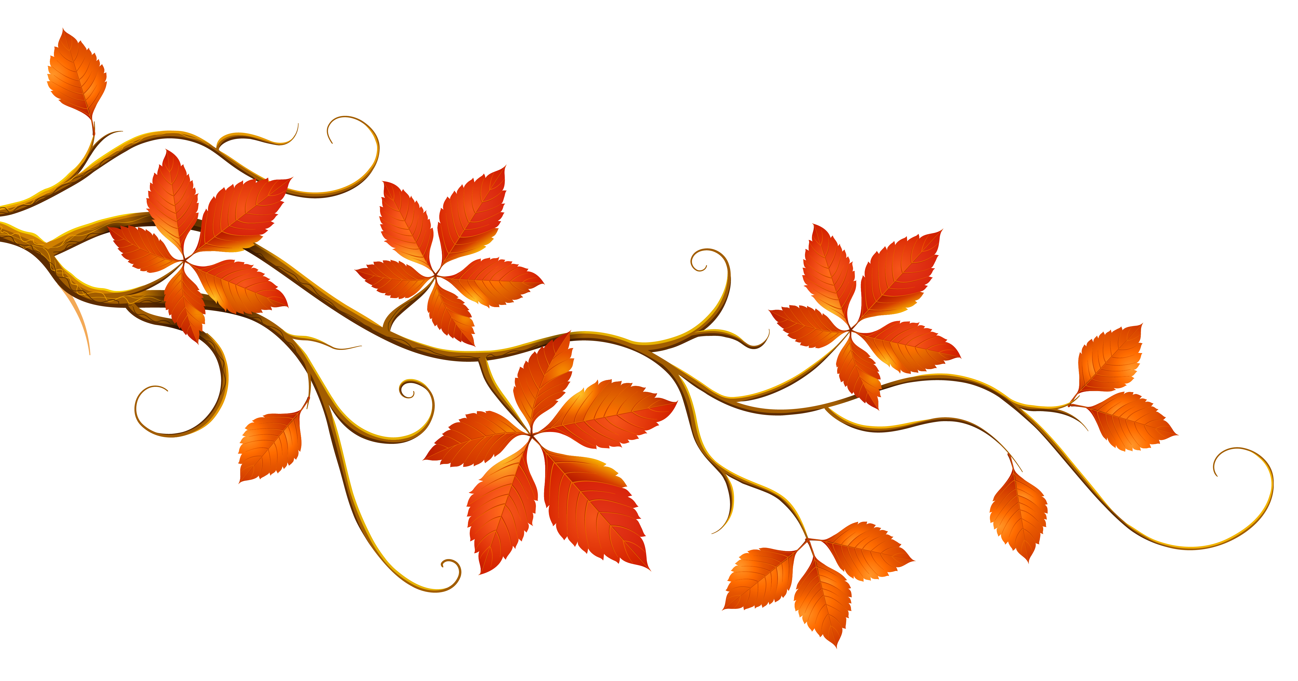 Tree Branch With Leaves Clip Art Autumn Png Clipart