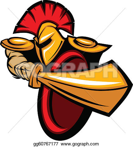 Trojan Mascot Body with Sword and Shield Vector Illustration