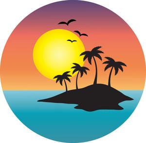 Tropical Island Clip Art