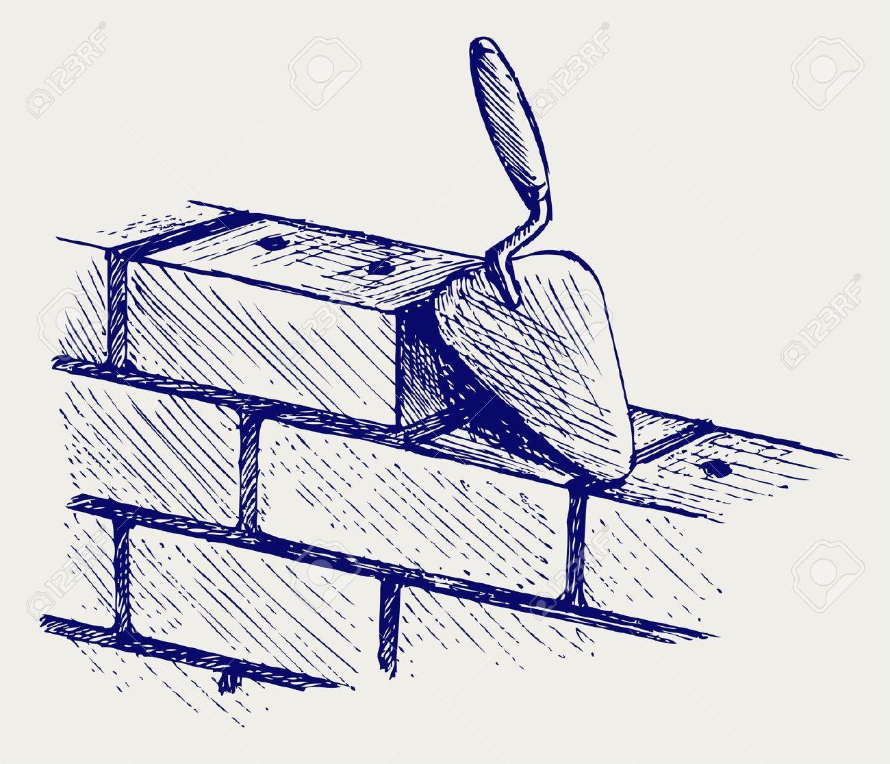 Trowel and bricks.