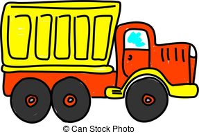 . hdclipartall.com dump truck isolated on white drawn in toddler art style