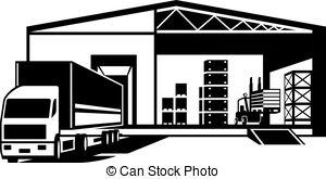 ... Truck loaded goods in warehouse - vector illustration