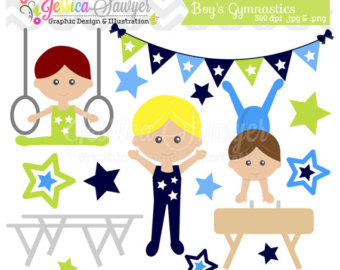 INSTANT Tumbling Clipart, boys gymnastics clipart for personal and commercial use