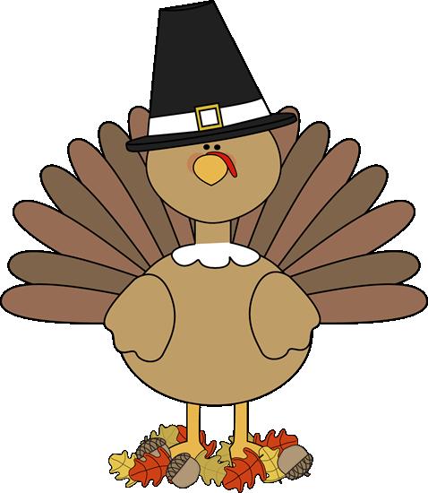 Turkey Pilgrim and Autumn Leaves Clip Art - Turkey Pilgrim and