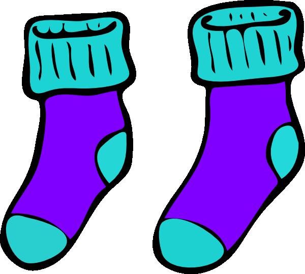 Turquoise Purple Sock Clip Art