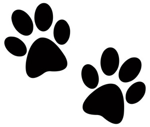 Two Dog Paw Prints in Silhouette Cartoon Dog Clip Art