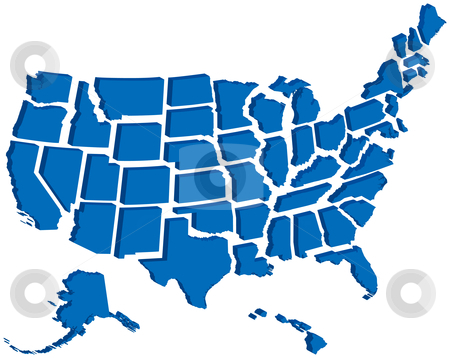 United States 3d Map Stock Vector Clipart Very Detailed Vector File