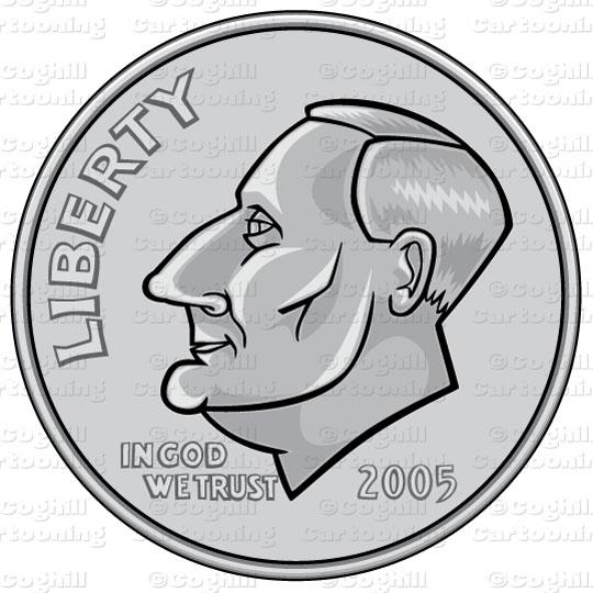 Us Dime Coin Stock Illustration Cartoon Clipart Coghill Cartooning