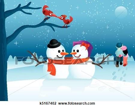 Valentine Winter Scene Clipart #1