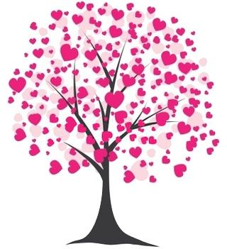 valentines clip art   Free Valentineu0026#39;s Day Clipart of a tree blooming with pink hearts.