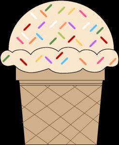 Vanilla Ice Cream Cone with Sprinkles