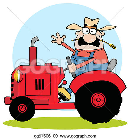 Vector Art - Friendly farmer waving and driving a red tractor . Clipart Drawing gg57606100