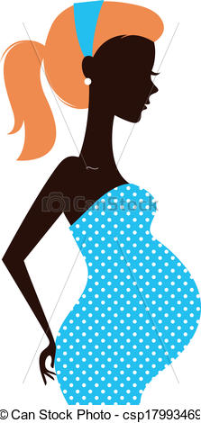 Vector Beautiful Pregnant Woman Silhouette Isolated On White Stock