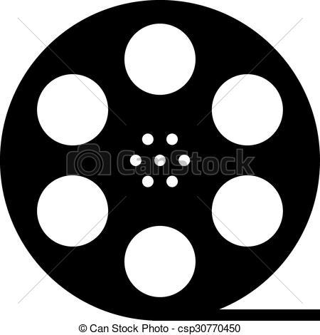 Vector - black film reel silhouette