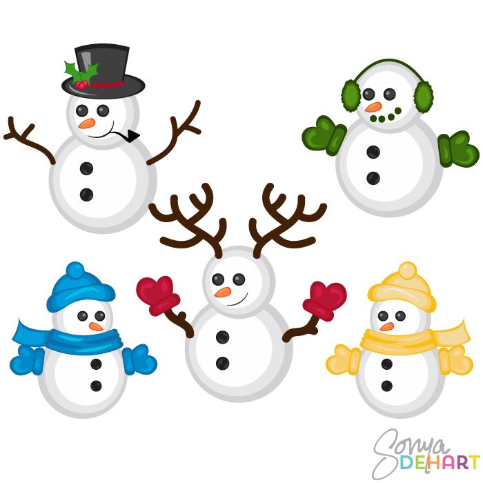 Vector Clip Art Christmas Snowmen