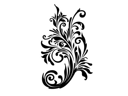 Free swirly floral vector cli