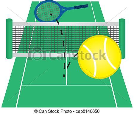 Vector Clipart Of Tennis Court Tennis Ball Hit Over Net Csp8146850