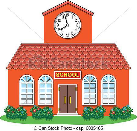 ... vector country school building - vector illustration of... ...