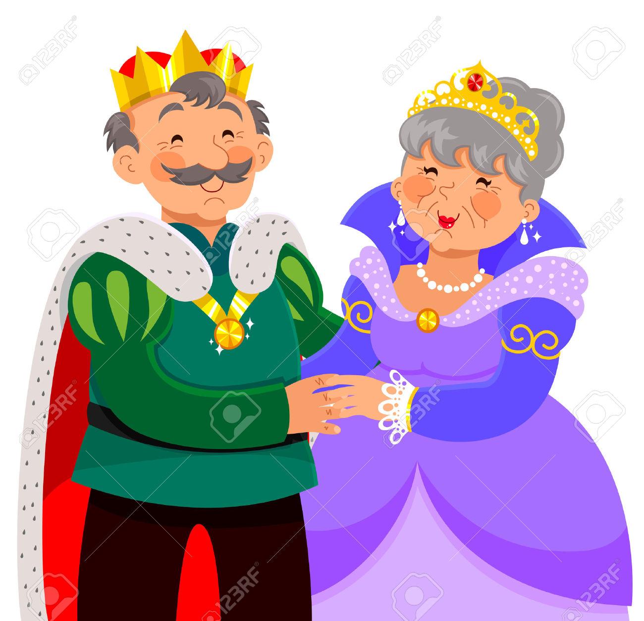 Vector - elderly king and queen hugging happily