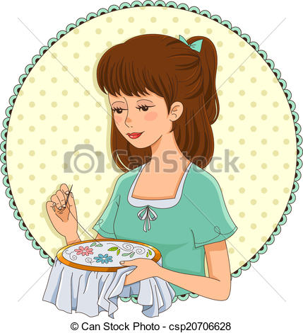 Vector - embroidering girl
