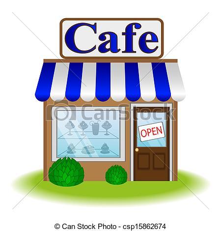 Vector Facade Of Cafe Vector Icon Stock Illustration Royalty