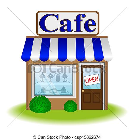 Vector Facade Of Cafe Vector Icon Stock Illustration Royalty