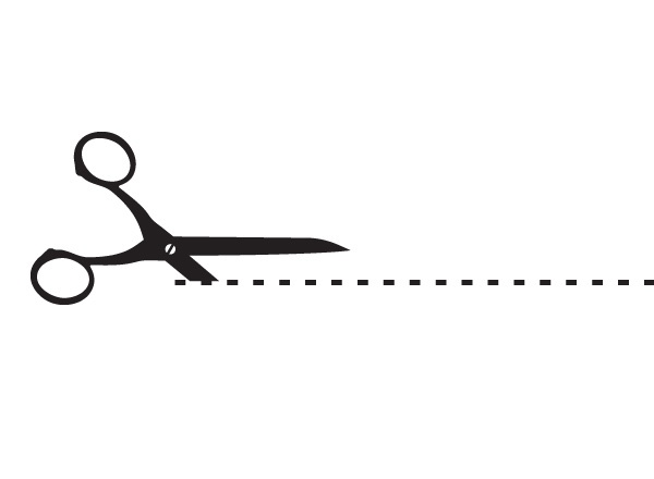 Vector Illustrations Of Scissors And Dotted Cut Guide Line