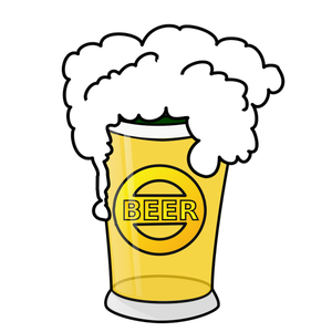 Vector image of beer in glass