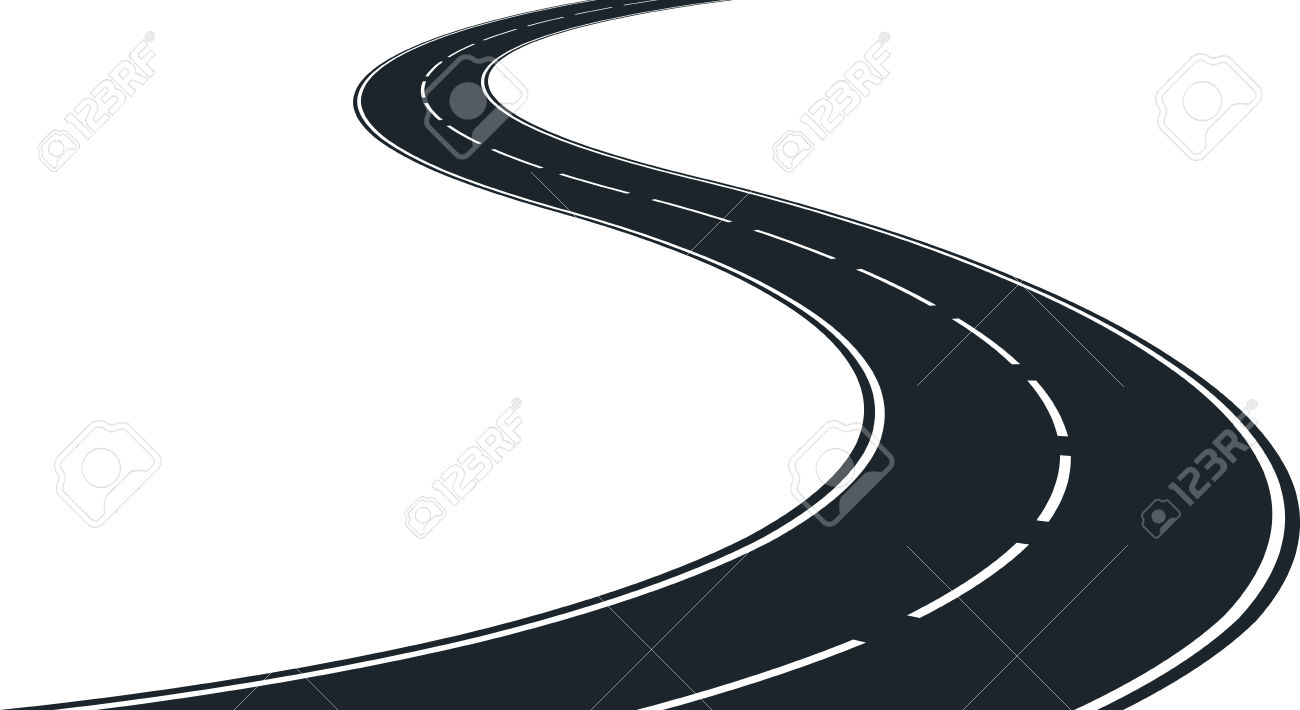 Vector - isolated winding road - clip art illustration