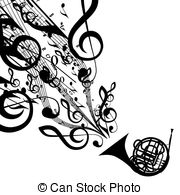 ... Vector Silhouette of French Horn with Musical Symbols.
