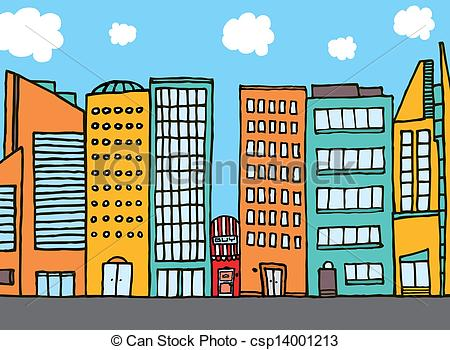 Vector Small Shop Among Huge Buildings Stock Illustration Royalty