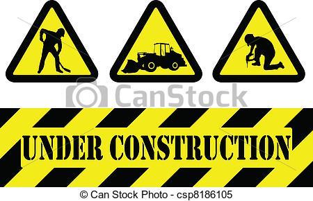 Vector Under Construction Signs Stock Illustration Royalty Free
