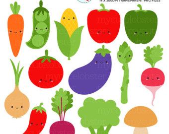 Cute Vegetables Clipart Set - clip art set of carrot, peas, broccoli,  mushroom