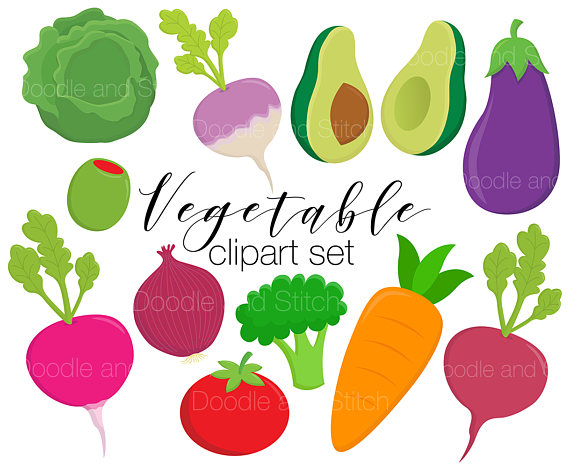 Vegetable Clipart Set, Veggie Clip Art Pictures, Veg Vector Illustrations,  Cute Vegetables from DoodleAndStitchArt on Etsy Studio