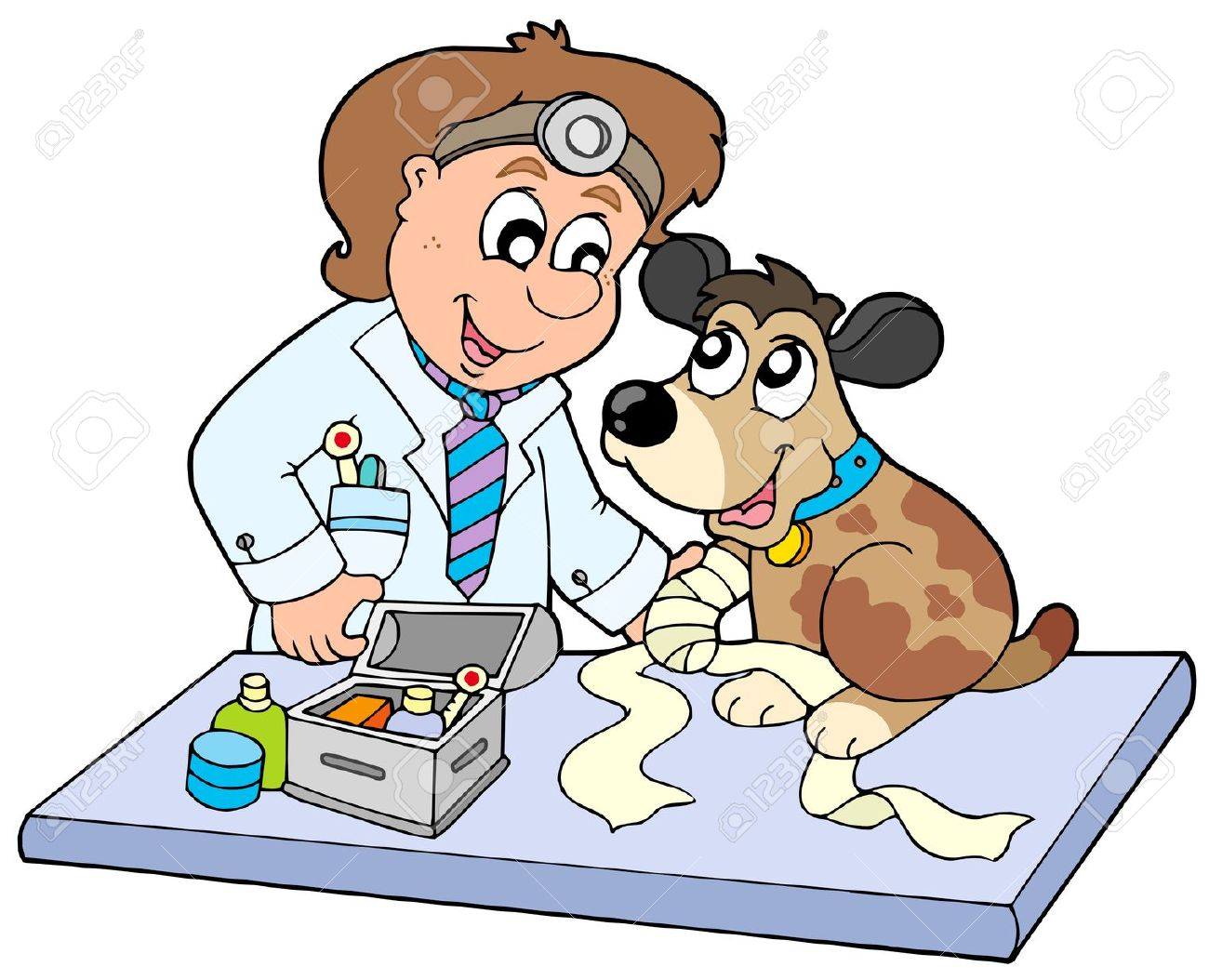 Veterinarian Clipart Fort. 6370096 Dog with sick paw at .