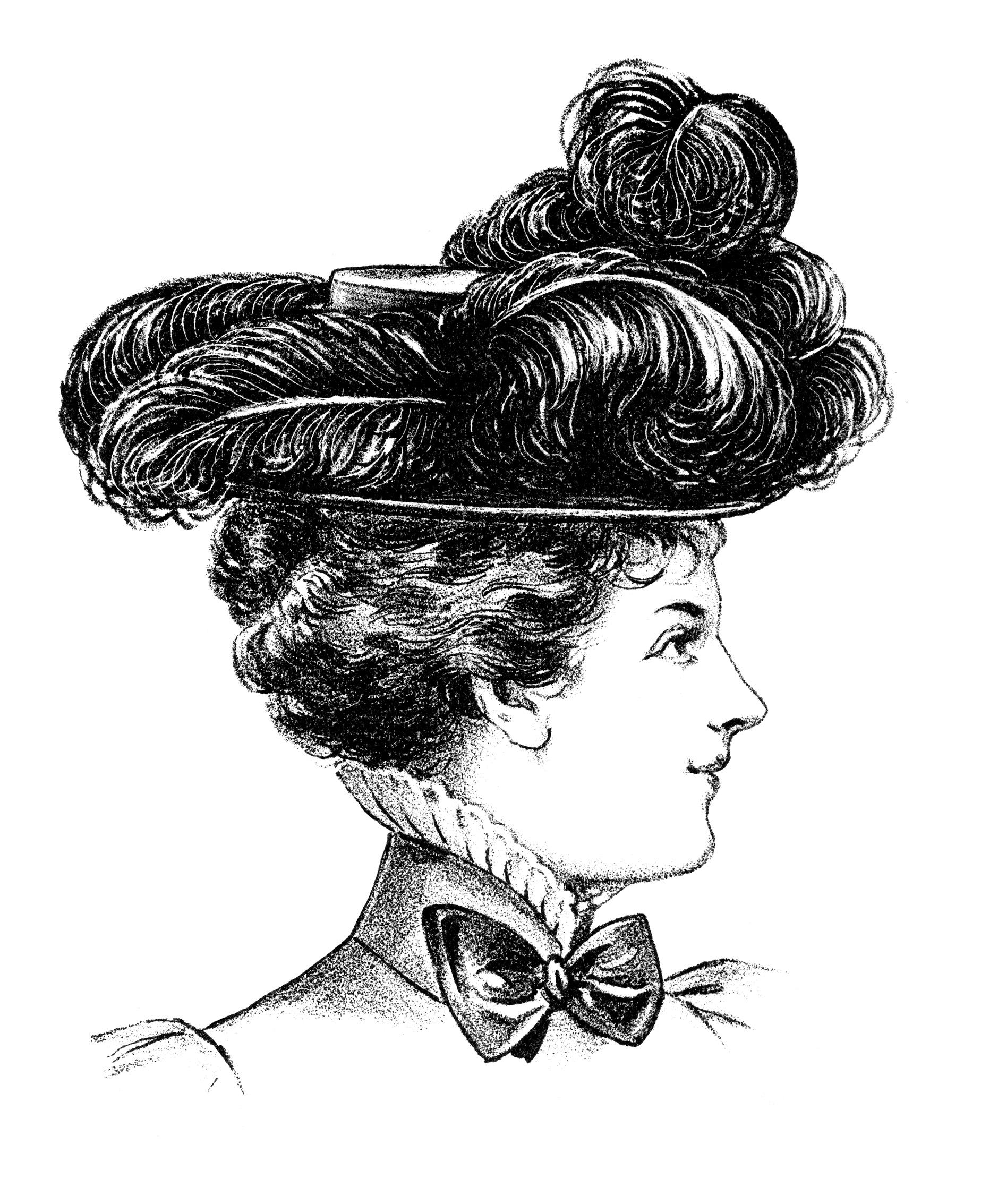 Victorian Hat Fashion Illustration Black And White Clipart Vintage