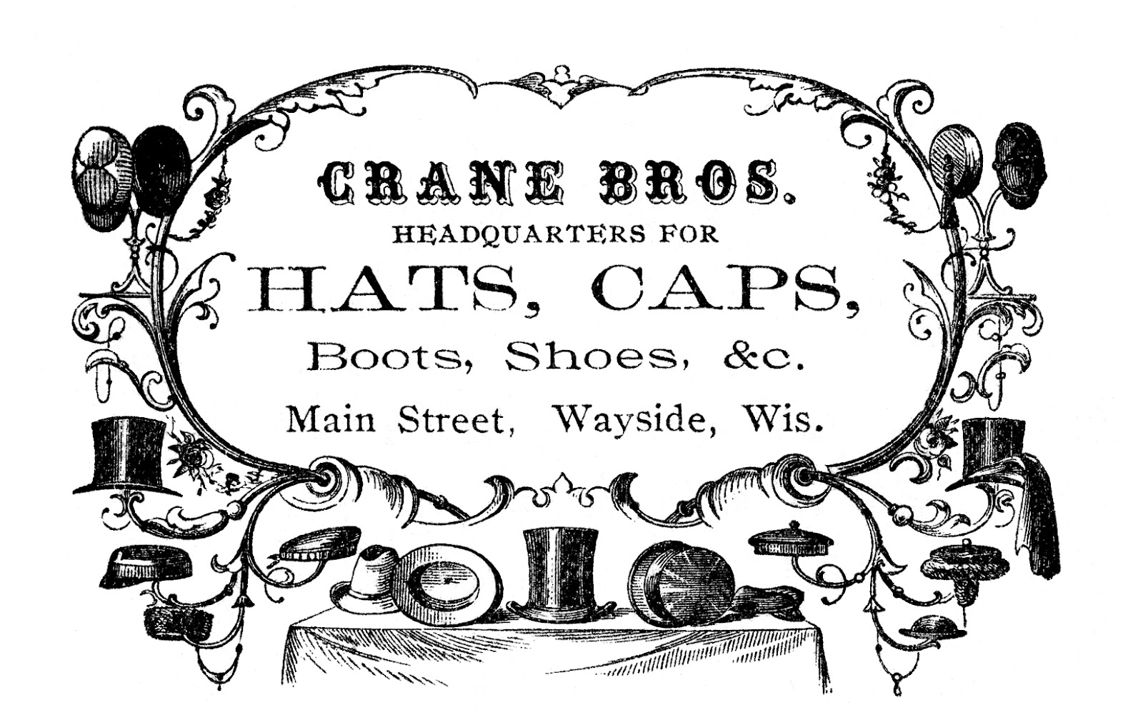 Vintage Advertising Clip Art u2013 Victorian Hats