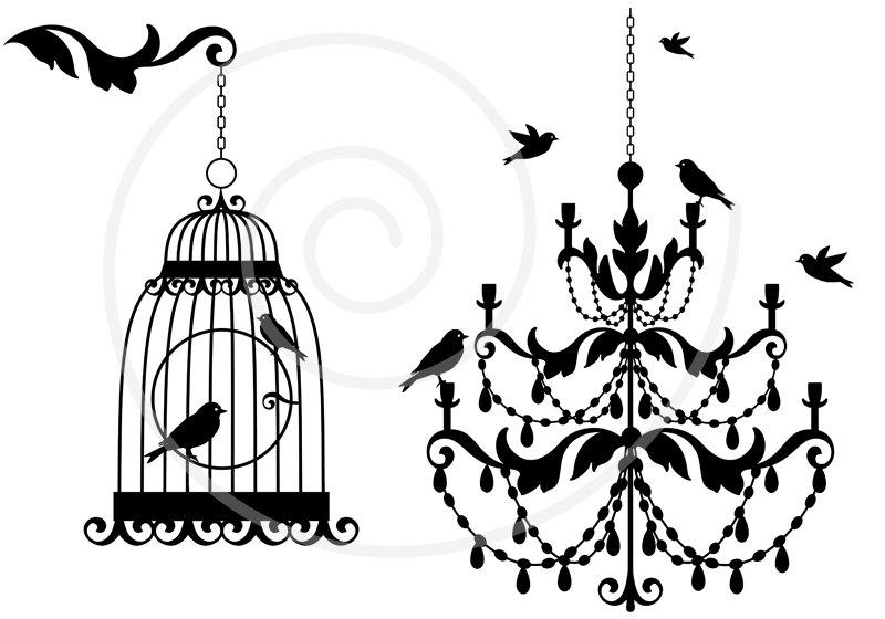 Vintage chandelier with birds and birdcage, lamp, clipart, clip art, digital, download, home decor, baroque, antique, cottage chic, SVG file