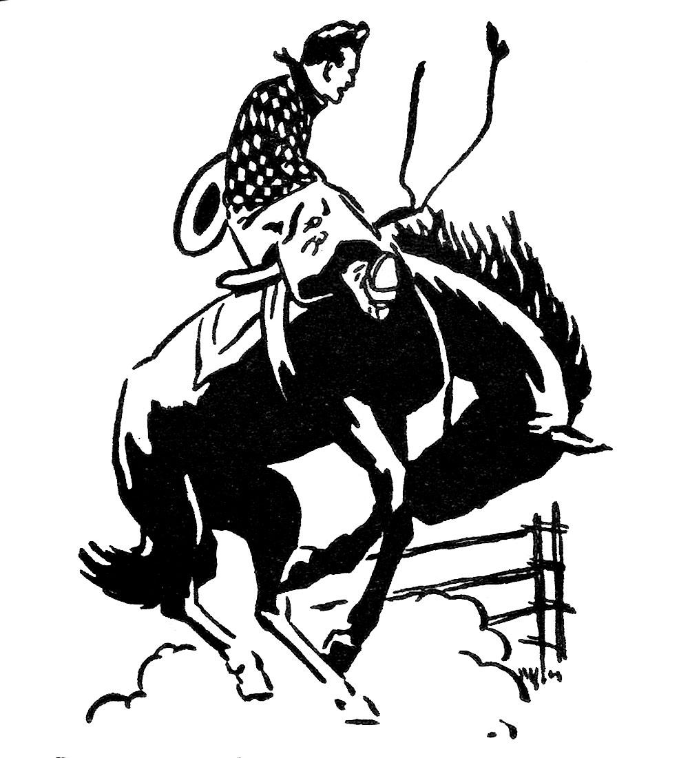 Vintage Clip Art Rodeo Cowboy The Graphics Fairy