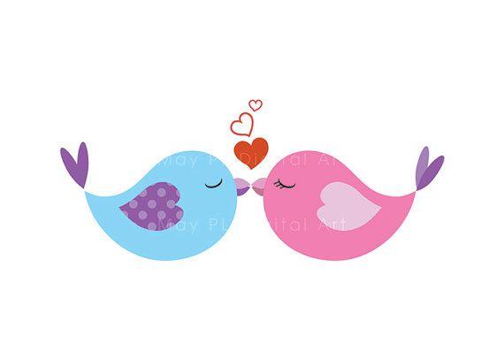 Vintage Love Bird Clip Art | Bird Clip Art Animal Clipart Digital Cute Love Pastel Pink Baby Bird .