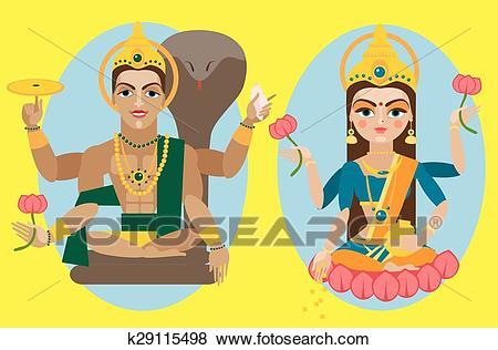 Clip Art - vector lord Vishnu and mata Lakshmi. Fotosearch - Search Clipart,  Illustration