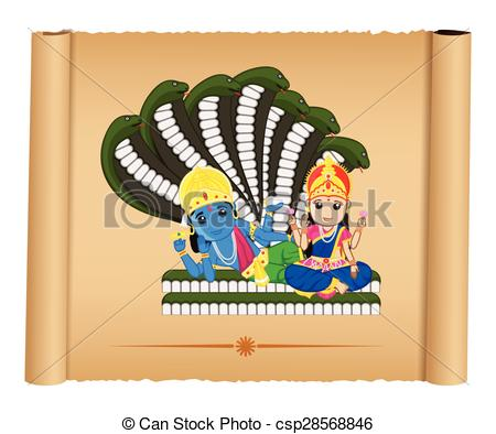 Lord Vishnu with Mata Laxmi - csp28568846