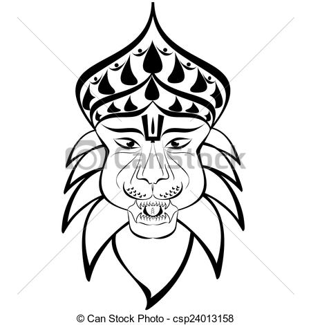 Shri Nrisimha or Narasimha, 4th incarnation of Lord Vishnu as half-man  half-lion. Outline drawing
